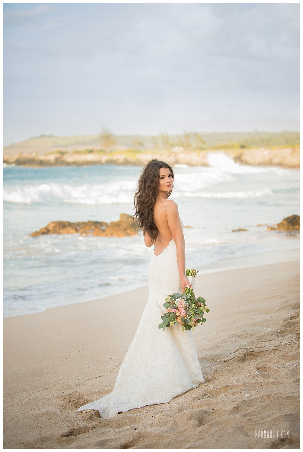beautiful bride after her Maui Elopement ceremony