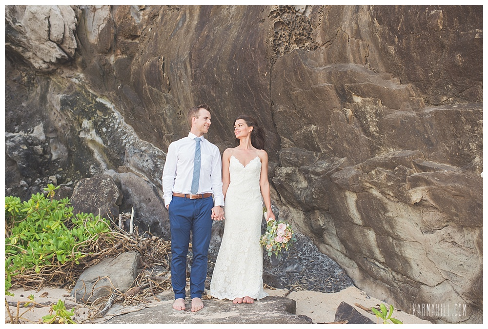 Hawaii elopement with bride and groom